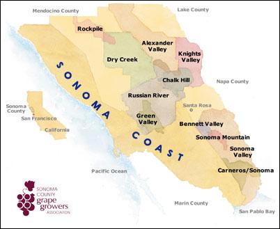 Sonoma Coast Mapa de áreas vinícolas